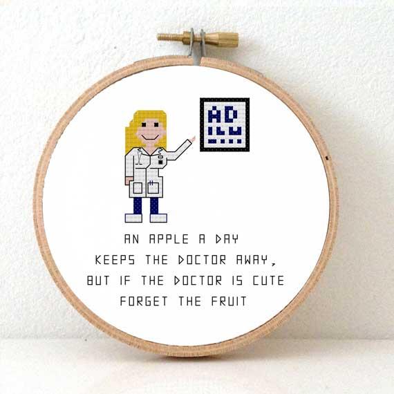 female doctor cross stitch pattern