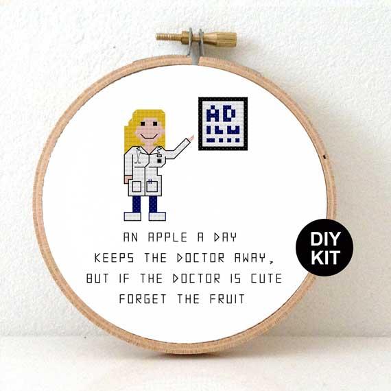 Female doctor cross stitch kit