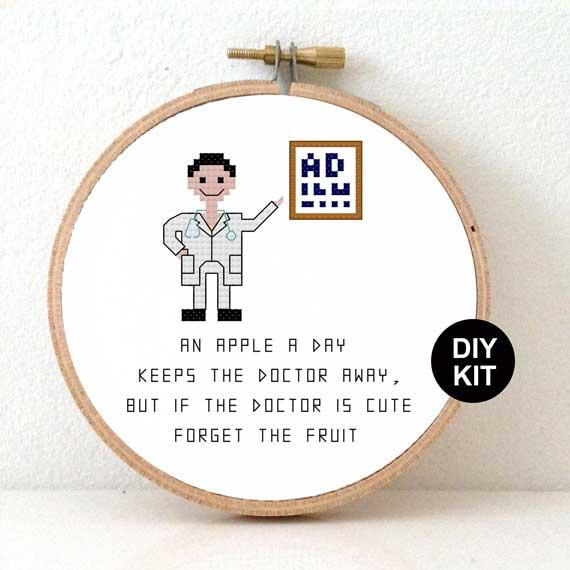 Male doctor cross stitch kit