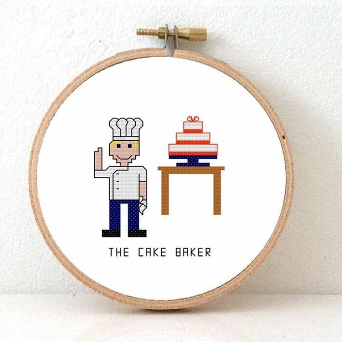 male cake baker cross stitch pattern