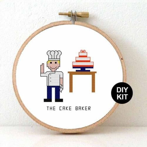male cake baker cross stitch kit gift for patisserie chef