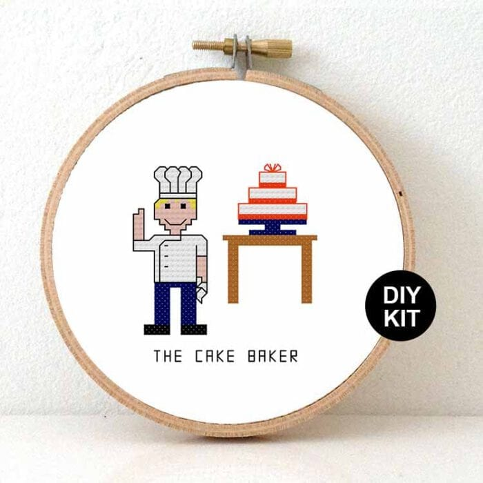 male cake baker cross stitch kit gift for patisserie chef