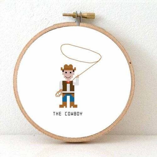 Cowboy cross stitch pattern for beginners
