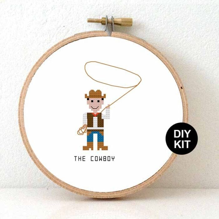 Cowboy cross stitch kit for beginners