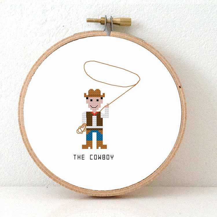 Cowboy cross stitch pattern for beginners