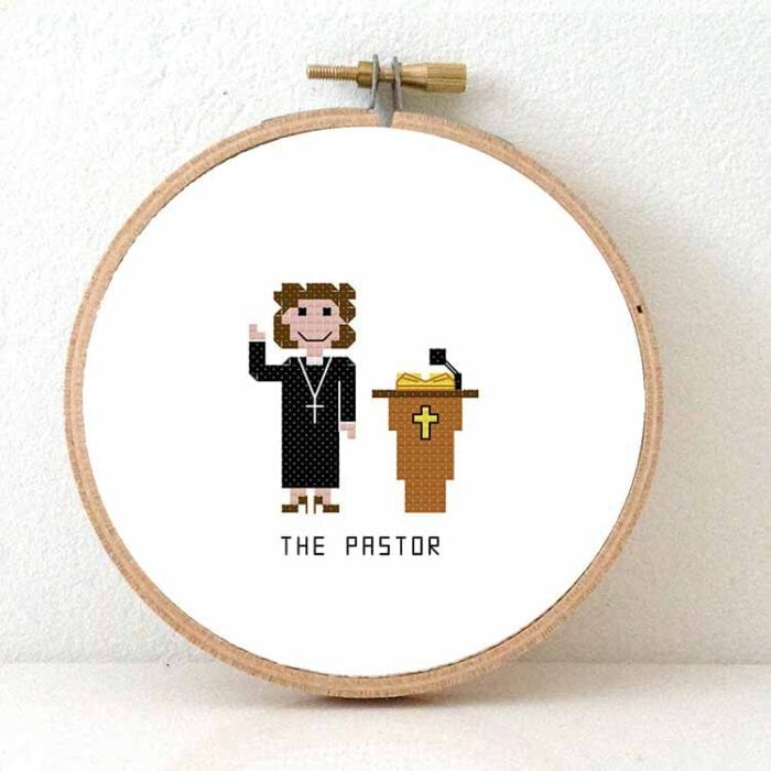 gift for female pastor cross stitch patterm