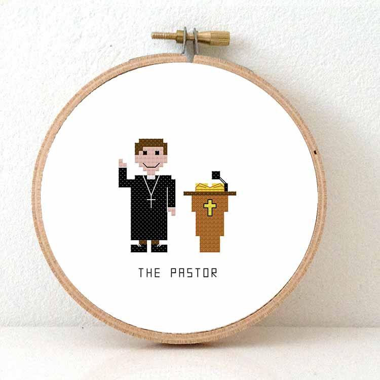 male pastor cross stitch pattern