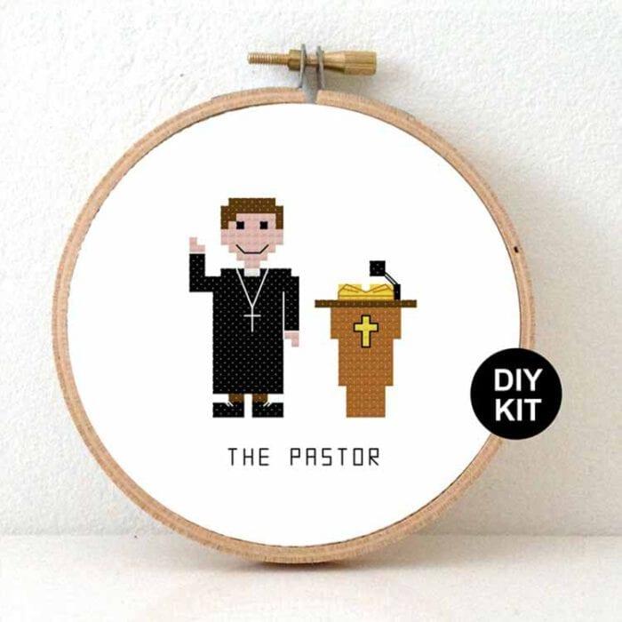 Pastor cross stitch kit