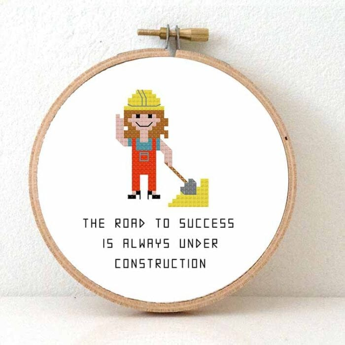 gift for female construction worker cross stitch pattern