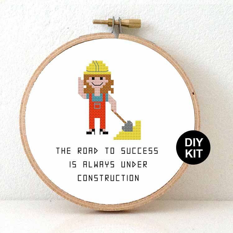 gift for female construction worker cross stitch kit