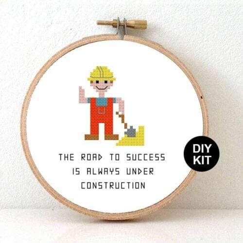 gift for male construction worker cross stitch kit
