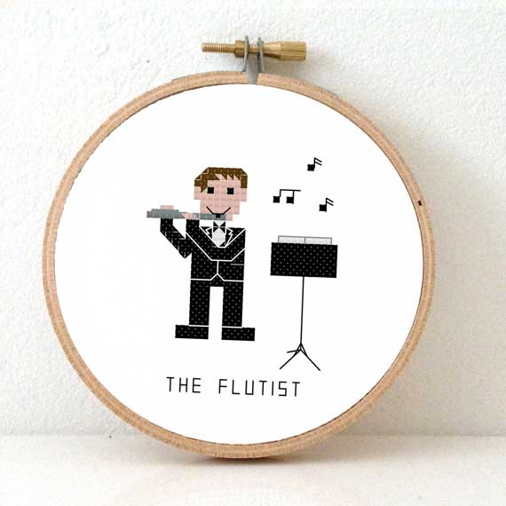 male flutist cross stitch pattern