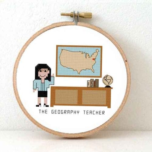 geography teacher female cross stitch pattern