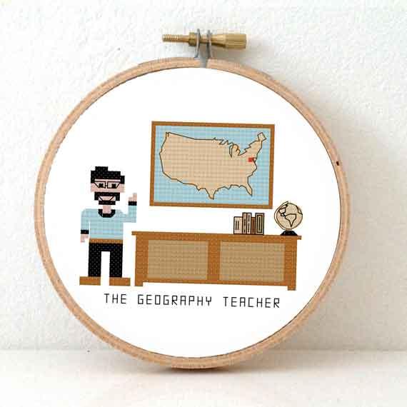 geography teacher male cross stitch pattern