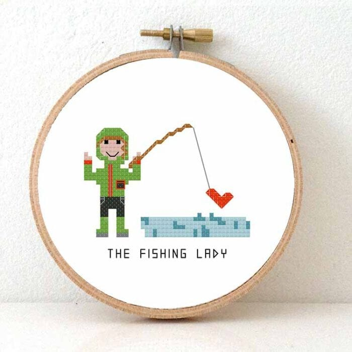 gift for fishing lady cross stitch pattern