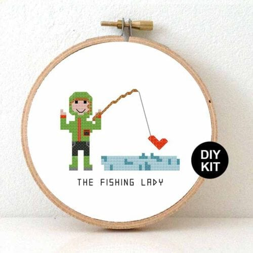 gift for fishing lady cross stitch kit