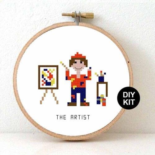 male artist cross stitch kit