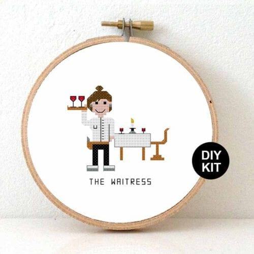 waitress cross stitch kit