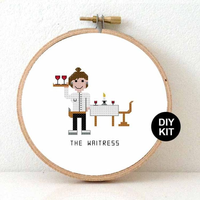 waitress cross stitch kit