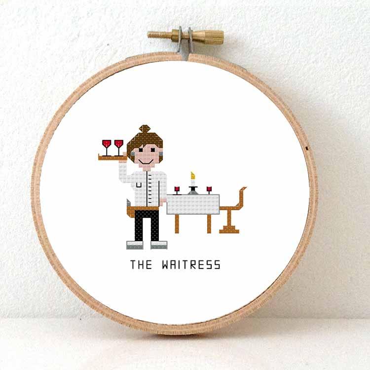 waitress cross stitch pattern
