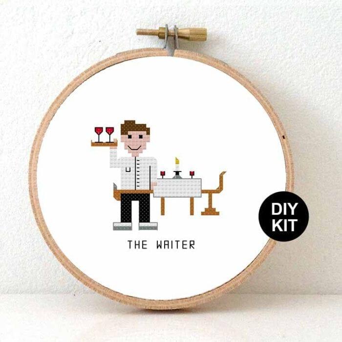 male waiter cross stitch kit