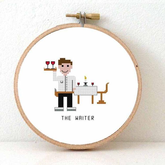 male waiter cross stitch pattern
