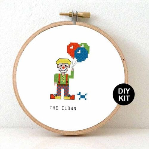 Clown cross stitch kit