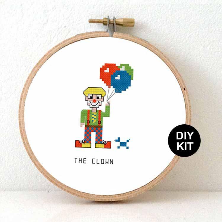 Clown cross stitch kit