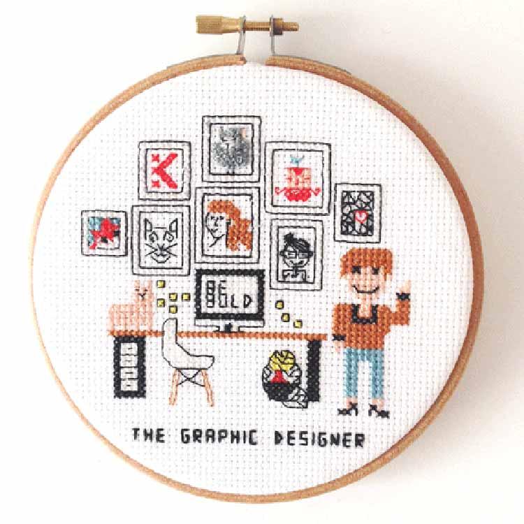 gift for female graphic designer cross stitch pattern