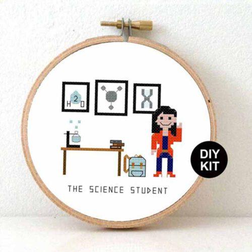 female science student cross stitch kit