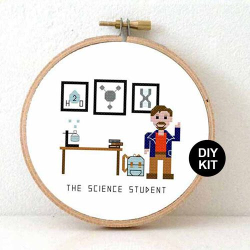 male science student cross stitch kit