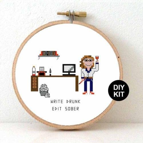 female writer cross stitch kit gift for blogger