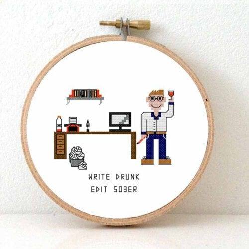 male writer cross stitch pattern