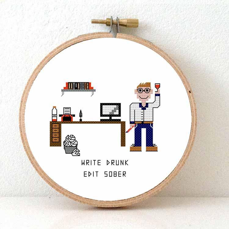 male writer cross stitch pattern