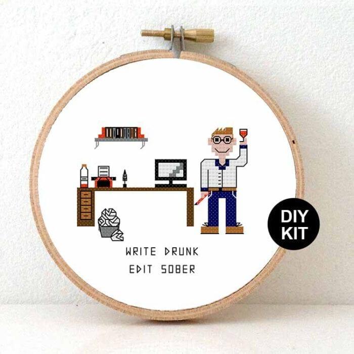 male writer cross stitch kit gift for blogger