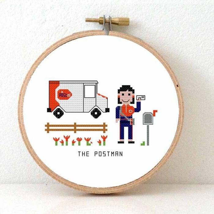 gift for female postnl employee cross stitch pattern