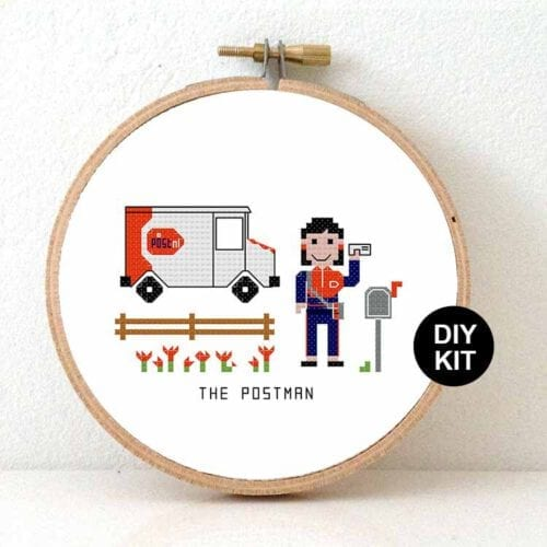 gift for female postnl employee cross stitch kit