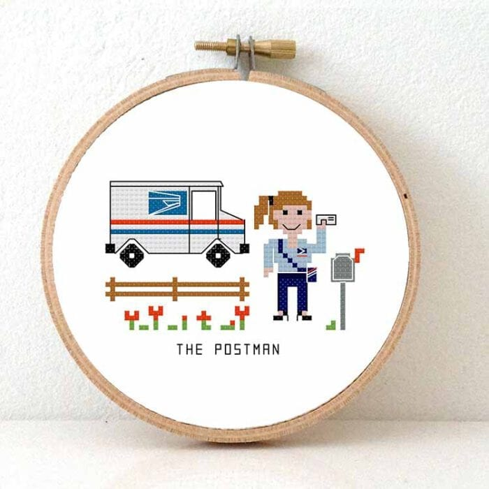 gift for female us post employee cross stitch pattern