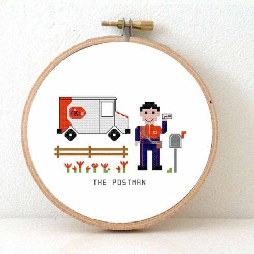 gift for male postnl employee cross stitch pattern