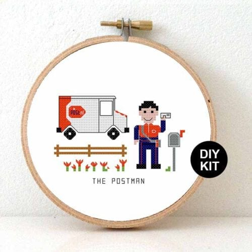 gift for male postnl employee cross stitch kit