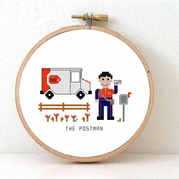 gift for male postnl employee cross stitch pattern