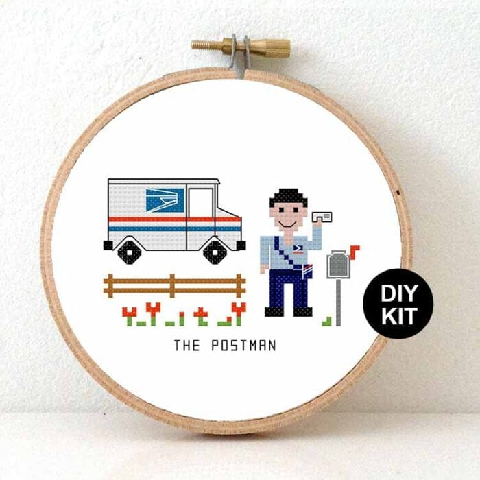 gift for male postman us cross stitch kit