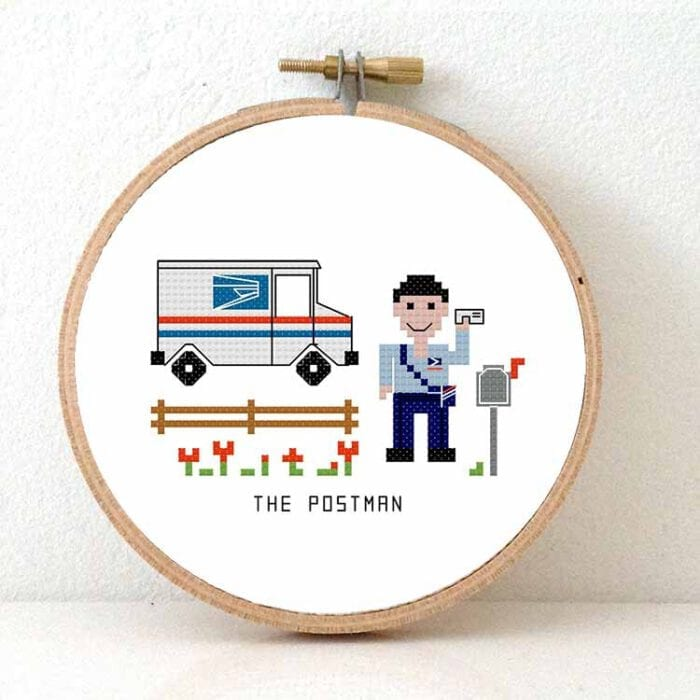 gift for male postman us cross stitch pattern