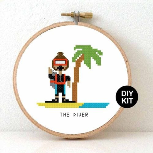 gift for female diver cross stitch kit