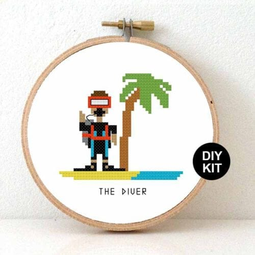 gift for male diver cross stitch kit