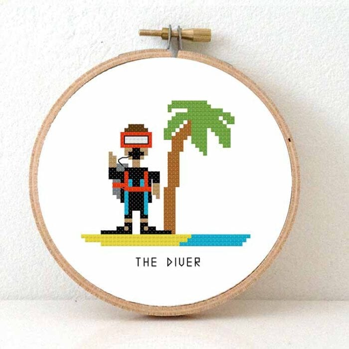 gift for male diver cross stitch pattern