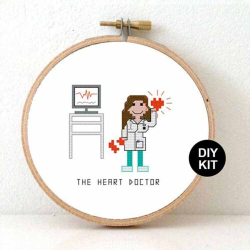 female heart doctor cross stitch kit