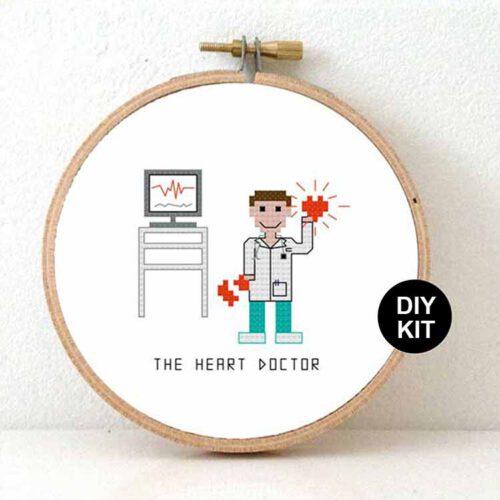male heart doctor cross stitch kit