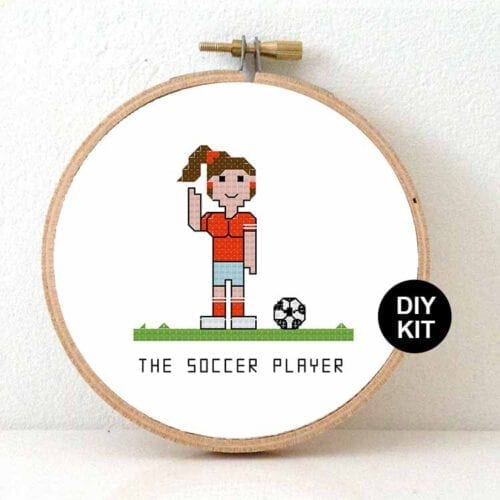 female soccer player cross stitch kit