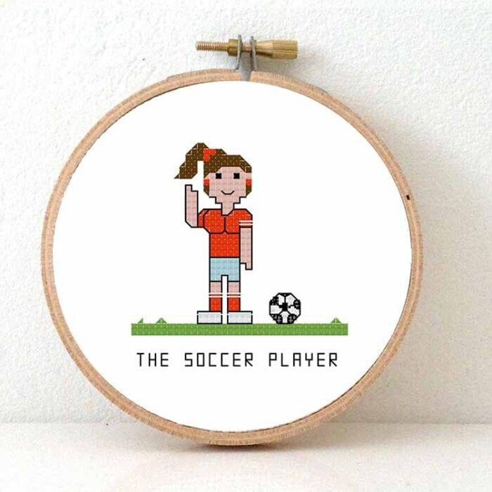 female soccer player cross stitch pattern